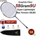 ESPER Rakcet супер-светильник для бадминтона 58 г  9U  ракетка для бадминтона  углеродное волокно  с сумкой  профессиональная настилка