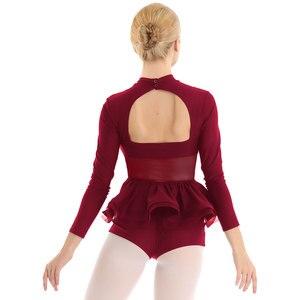 Image 4 - Women ballet leotards dance costumes Mock Neck Long Sleeves Keyhole Back Gymnastics Leotard Bodysuit Ballet Dance dress women