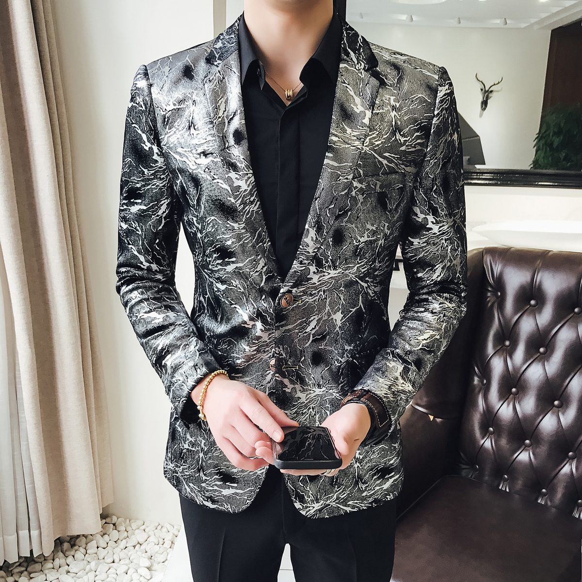Flashlight Print Velvet Blazer Men 2020 High Quality Stylish Blazer For Mens Designer Blazer Suits Jacket Stage Costumes 5xl