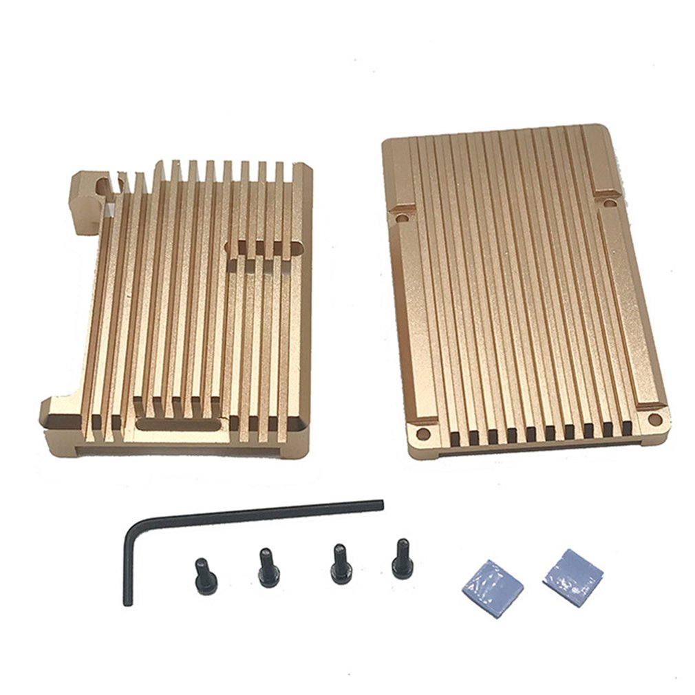 For Raspberry Pi Raspberry Pi 4 Model B Aluminum Armor Shell Aluminum Case Gold Replacement Box Parts