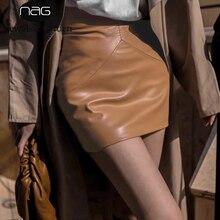 Black Skirt Y2k Bodycon Sexy Vintage High-Waist Mini Womens Casual Fall PU Street-Wear
