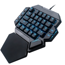 лучшая цена K50 Rgb Wired Gaming Keypad Keyboard 35 Keys One-Handed Blue Switch Led Backlit Mechanical Keyboard