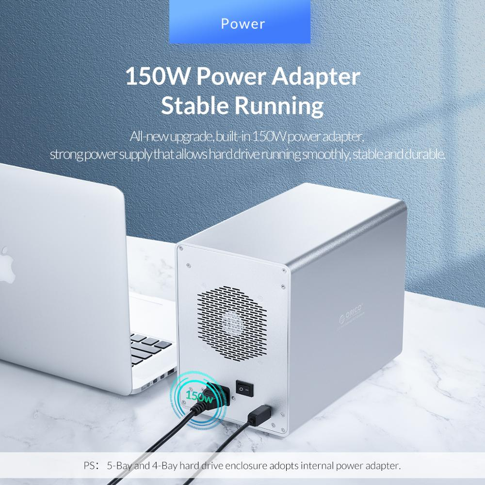 Image 5 - ORICO 95 Series 5 Bay 3.5 SATA na USB 3.0 stacja dokująca HDD na 80TB UASP z wewnętrznym zasilaczem 150W aluminiowa obudowa HDDhard drive enclosure5 baydrive enclosure -