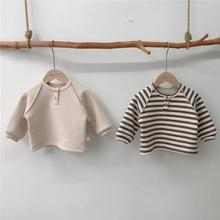 2020 Autumn Winter Baby Girls Fleece Lining Warm Shirts Bottomming Tops Toddler Baby Boys Striped T Shirt Waffle Baby Clothing