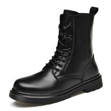 Męskie buty podstawowe skórzane buty motocyklowe buty wojskowe buty wojskowe zimowe ciepłe oraz aksamitne buty śnieżne Martin buty tanie tanio L SOLD CN (pochodzenie) Skóra Split RUBBER 20910018 Lace-up Pasuje prawda na wymiar weź swój normalny rozmiar Stałe