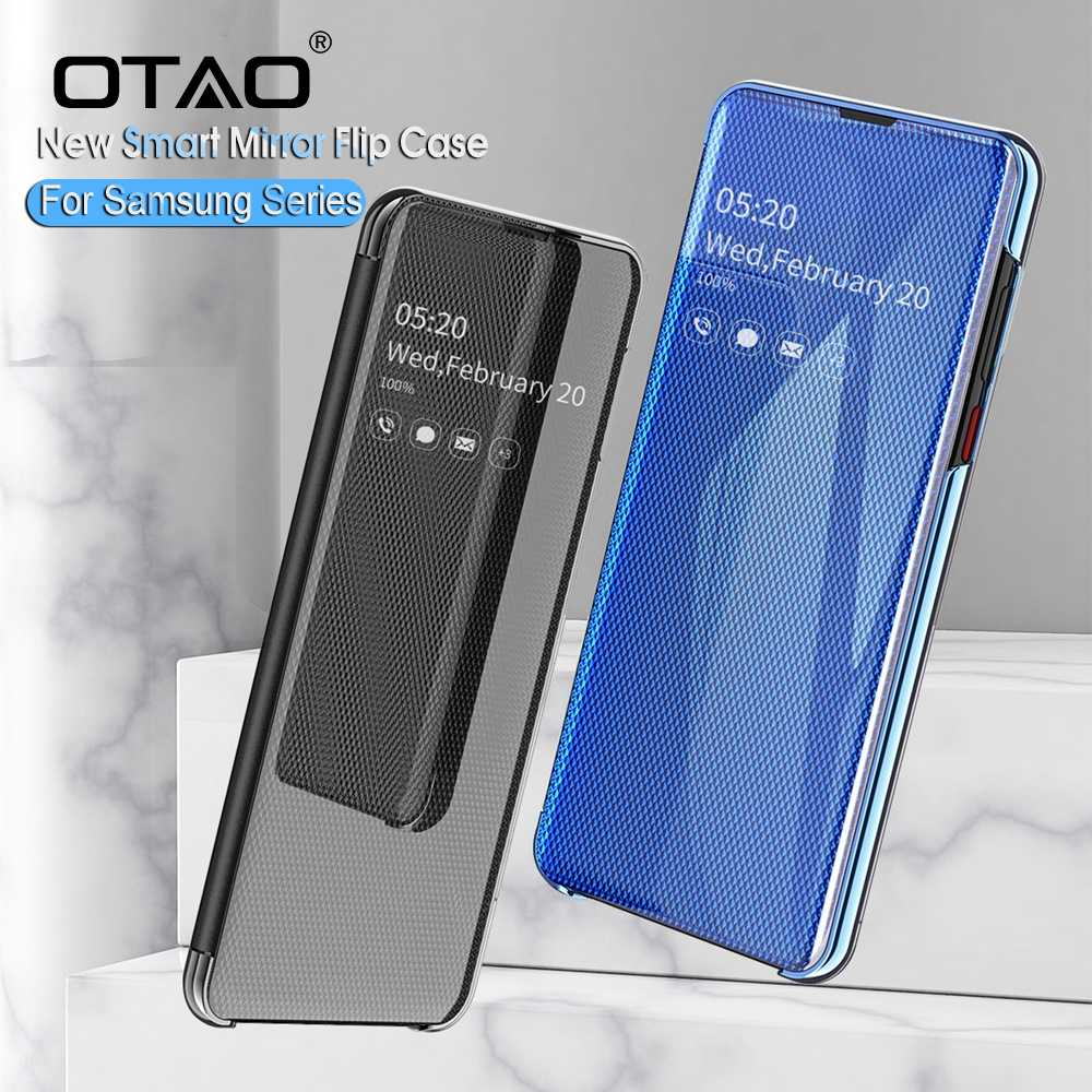 OTAO Upgraded Smart Mirror View Case For Huawei P30 Pro Mate 20 Lite Flip Stand Full Cover Case For Huawei P Smart P20 P10 Coque
