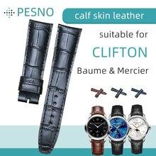Pesno jacaré grão bezerro pele couro genuíno relógio de pulso banda 20mm 21mm pulseira relógio masculino para baume & mercie