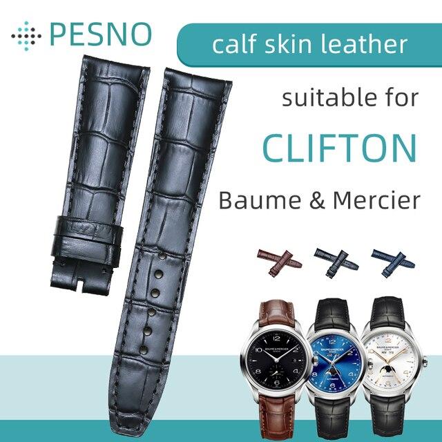 Мужские наручные часы из натуральной кожи аллигатора Pesno, ремешок для часов 20 мм, 21 мм, ремешок для часов Baume & Mercie