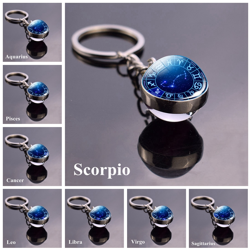 12 Zodiac Signs Keychain Constellation Aquarius Pisces Aries Taurus Gemini Cancer Leo Virgo Libra Scorpio Glass Ball Ke Ychain