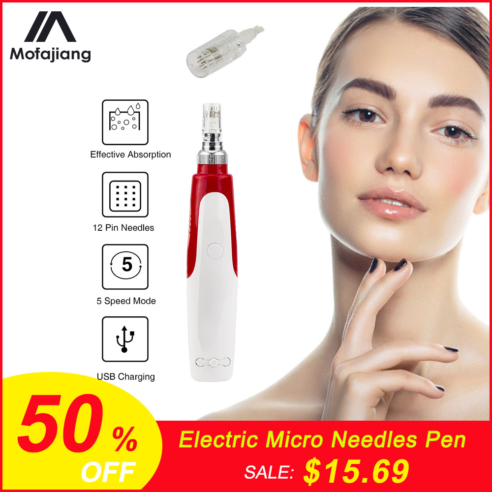 Electric Micro Needle Derma Pen Instrument 12-Pin Needles Face Skin Therapy Skin Tightening Reduce Wrinkles Pores Beauty Device