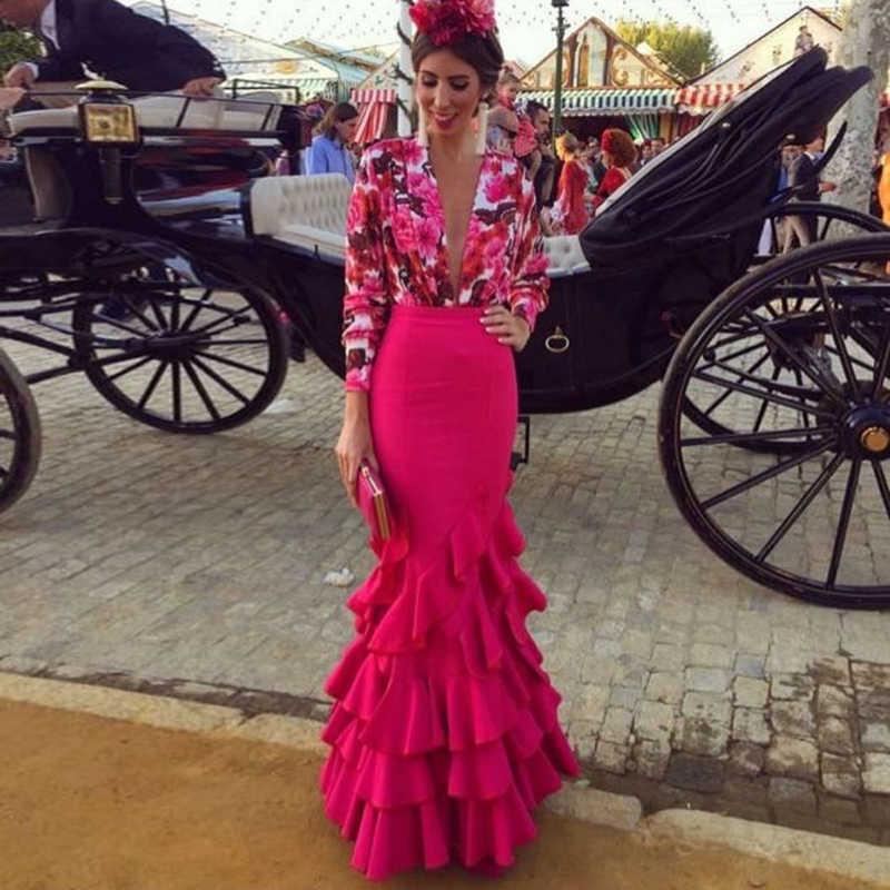ホットピンクロングマーメイドスカート女性のレトロなスタイルの床の長さのマキシスカート結婚式のウエディングパーティーのフリルトランペットスカートサイア