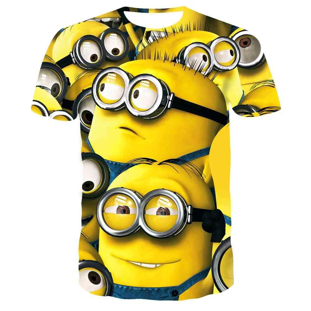 애니메이션 만화 셔츠 여름 옷 키즈 남자 tshirt 비열한 미니언 t 셔츠 3d 인쇄 만화 미니언 o-넥 t-셔츠 티셔츠