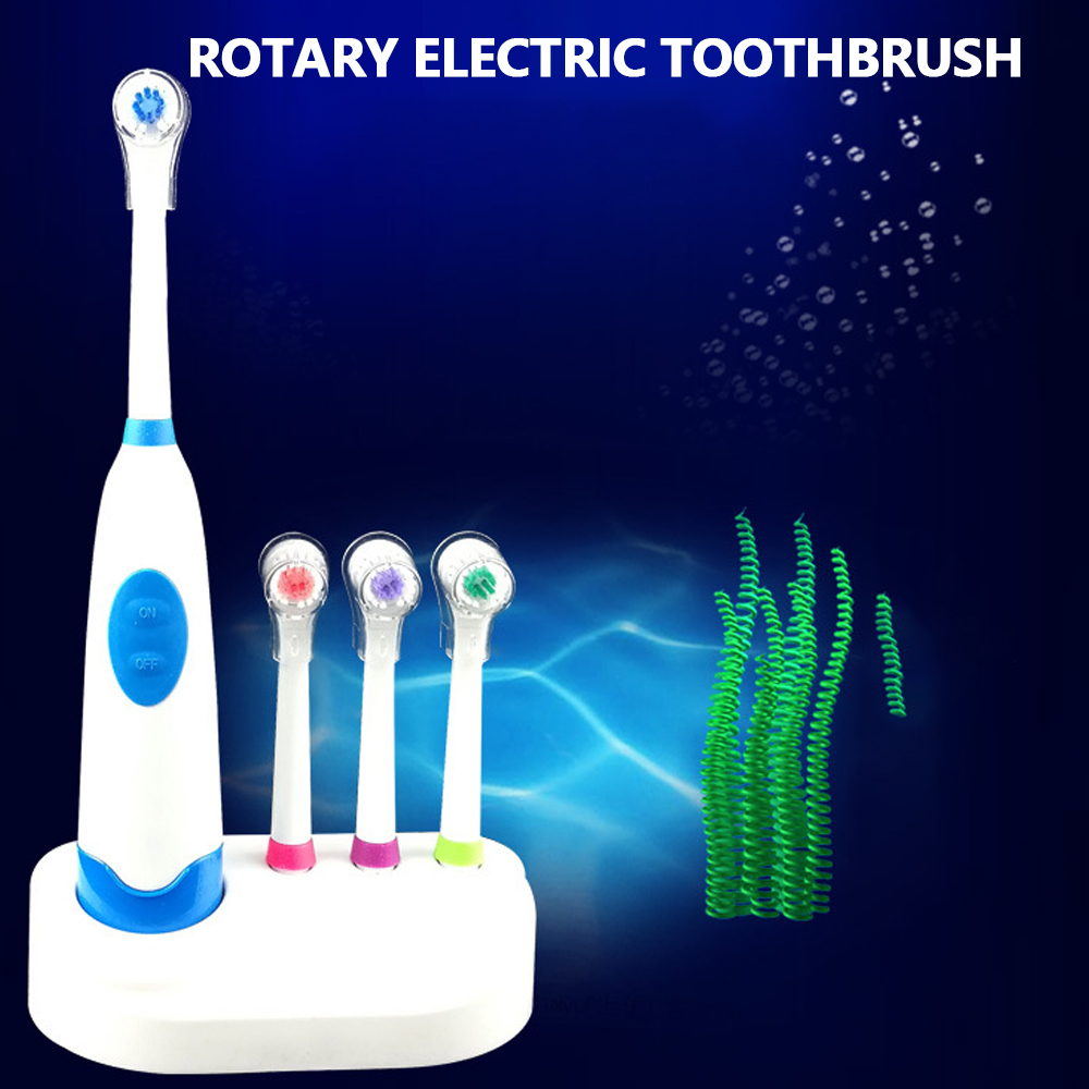 1Set Electric Toothbrush With 4 Brush Heads Battery Operated Oral Rotatable Teeth Brush For Children Adults With No Battery