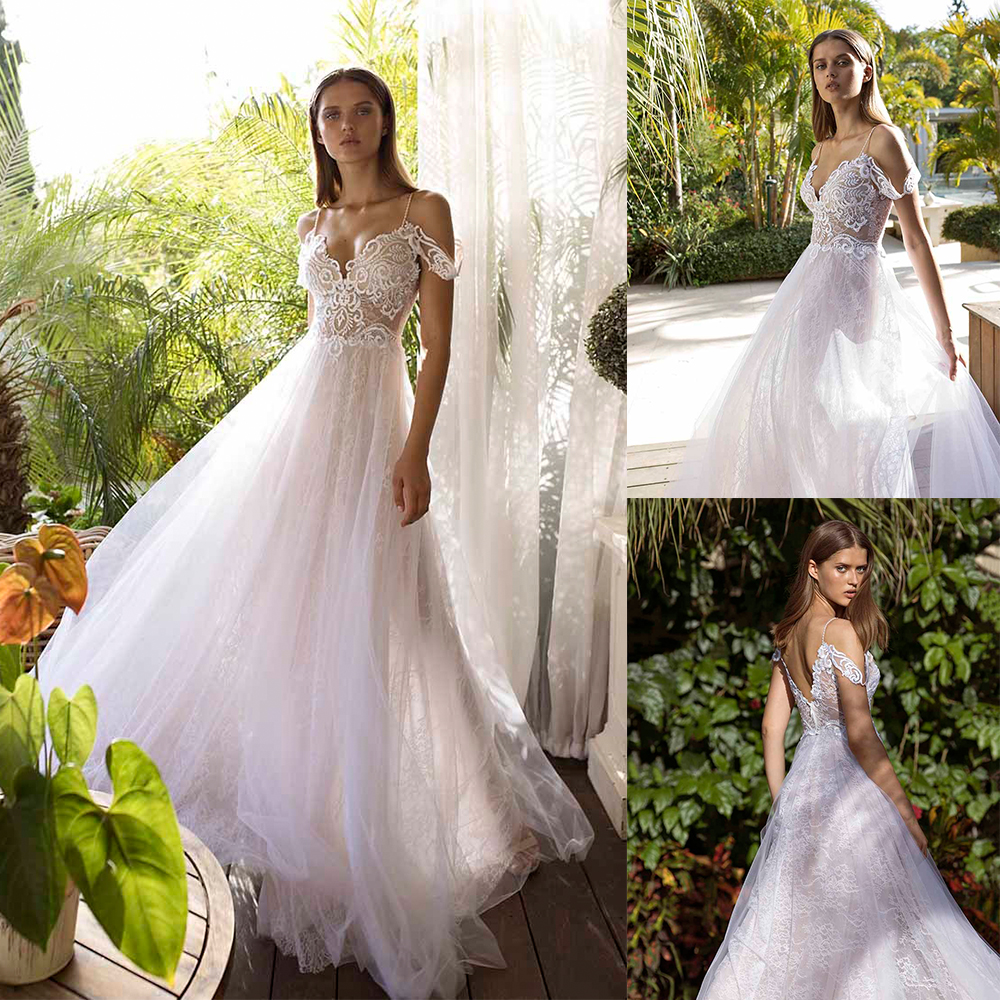 2020 Wedding Dresses Sweetheart Lace Appliques Beach Bridal Gowns Sexy Backless Sweep Train A Line Wedding Dress