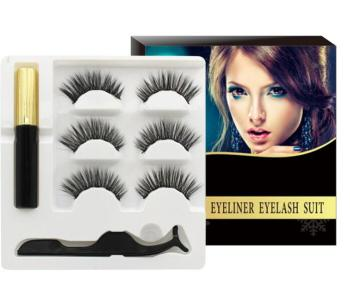 20set/lot (3Pairs False Eyelashes+Eyeliner+Tweezers) 3D Mink Hair Magnetic Self-adhesion Three In On
