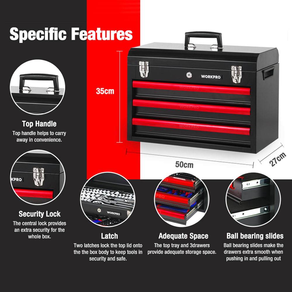408PC Box Tool Set Duty Metal Tool Drawer WORKPRO Home 3 Mechanics With Heavy Set