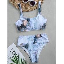 Microbikini de cintura alta para mujer, traje de baño de banda, bikini brasileño a rayas de realce, Tanga con cuello Halter, conjunto de ropa de baño 2021