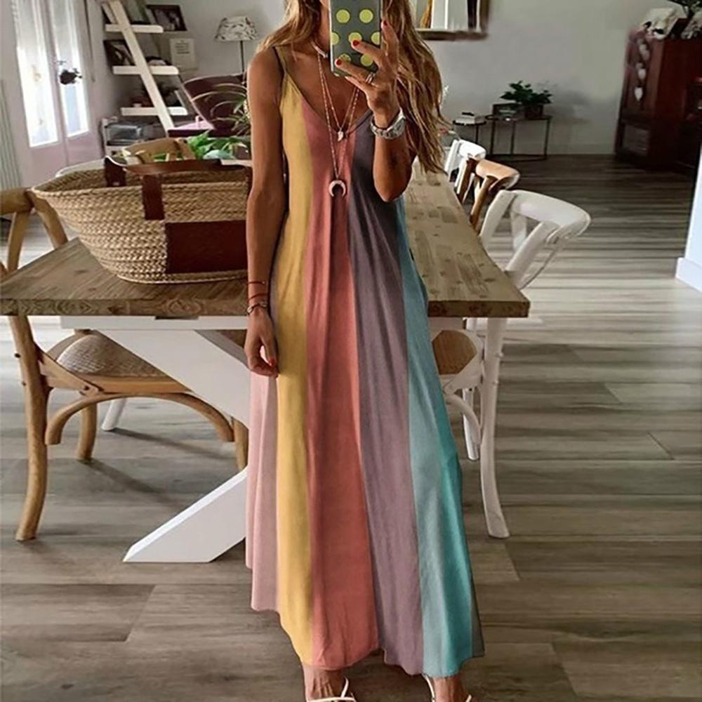 Long V-neckless dress for women bohemian style women's evening party dresses Casual Sleeveless Print Maxi Tank Long Dress(China)