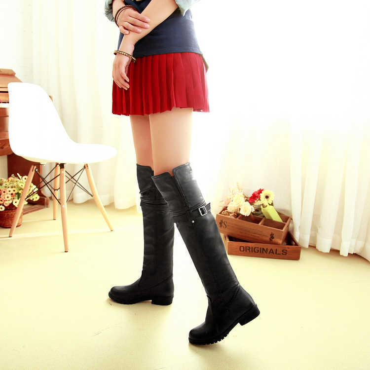 Büyük Boy 9 10 11 12 çizmeler kadın ayakkabıları yarım çizmeler bayanlar çizmeler ayakkabı kadın kış Düz renk yuvarlak kafa kol