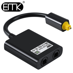 EMK Digital Optical Splitter Audio Cable 2 Way SPDIF Adapter Toslink Splitter Cable 1 input 2 Output Speakers TV PS4 DVD