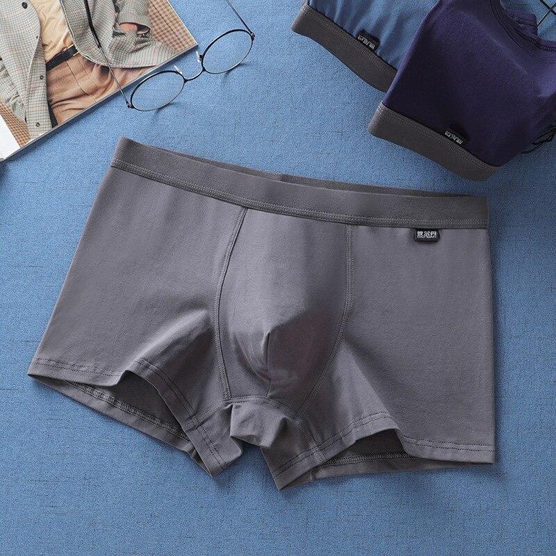 BIERDAN 1pcs Men's Cotton Soft Underwear Boxer Hombre Short Middle Waist Solid Comfort Youth Health Boxer Plus Size