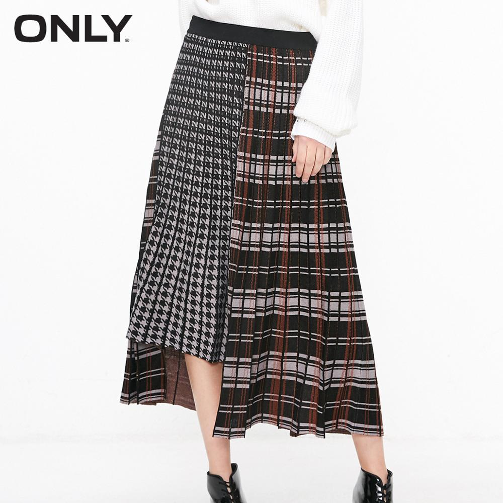 ONLY Women's Retro Checked  Irregular Pleated Mid Knitted Skirt | 11911J504
