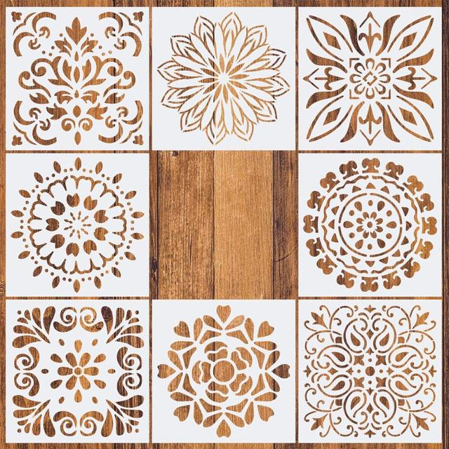 1pc 15*15 Painting Stencil DIY drawing Mandala style Laser Cut Wall Stencil Painting for Wood Floor Tiles Fabric Template 1