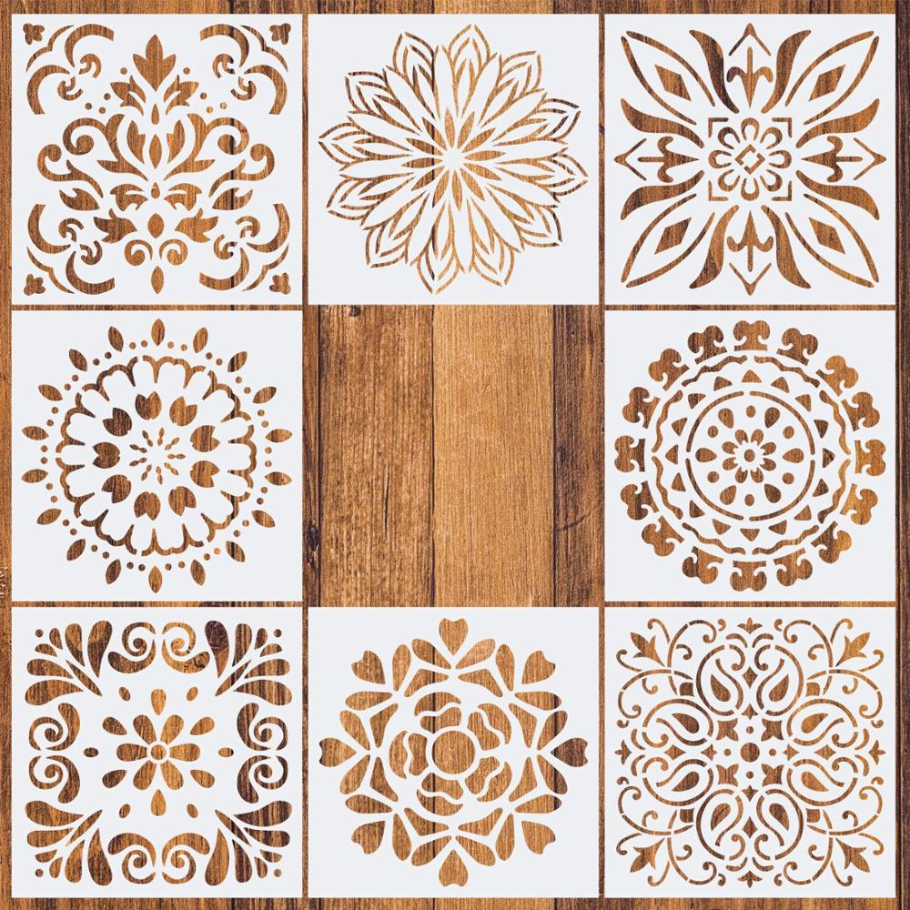 1pc 15*15 Painting Stencil DIY Drawing Mandala Style Laser Cut Wall Stencil Painting For Wood Floor Tiles Fabric Template
