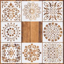1pc 15*15 Painting Stencil DIY drawing Mandala style Laser Cut Wall for Wood Floor Tiles Fabric Template