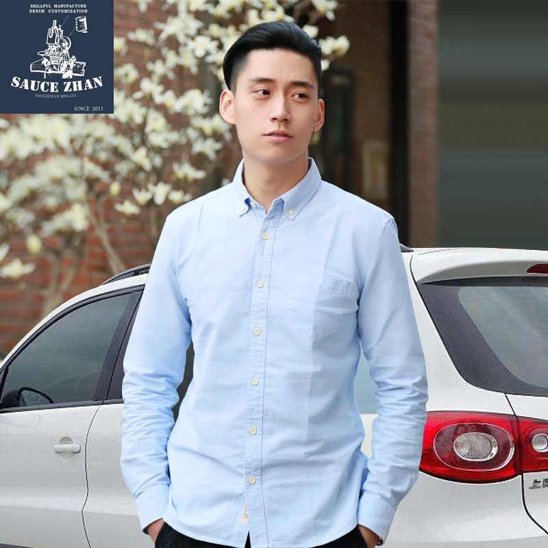 Saucezhan original vintage camisa com 6 cores misto oxford, camisa de algodão de mangas compridas, camisa de cor sólida, yu welle camisa masculina