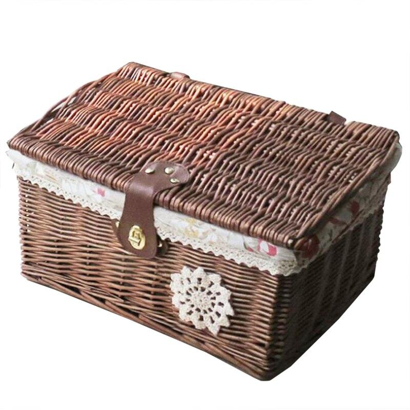Boîte de rangement en osier maison panier de rangement en osier boîte de rangement avec couvercle boîte de rangement rangement des vêtements