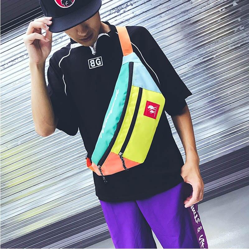 Unisex Saco Da Cintura Bloco de Fanny Sacos de Moda Para O saco da Banana Saco Cinto Multifuncional Peito Packs Hip Hop Bum Pacote Crossbody pack