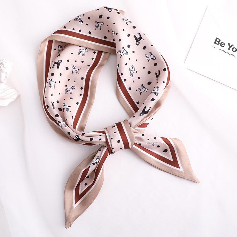 2020 Fashion Animal Print Women Silk Scarf Small Handle Bag Ribbons Handkerchief Female hair Scarves Foulard Showl 90*10cm