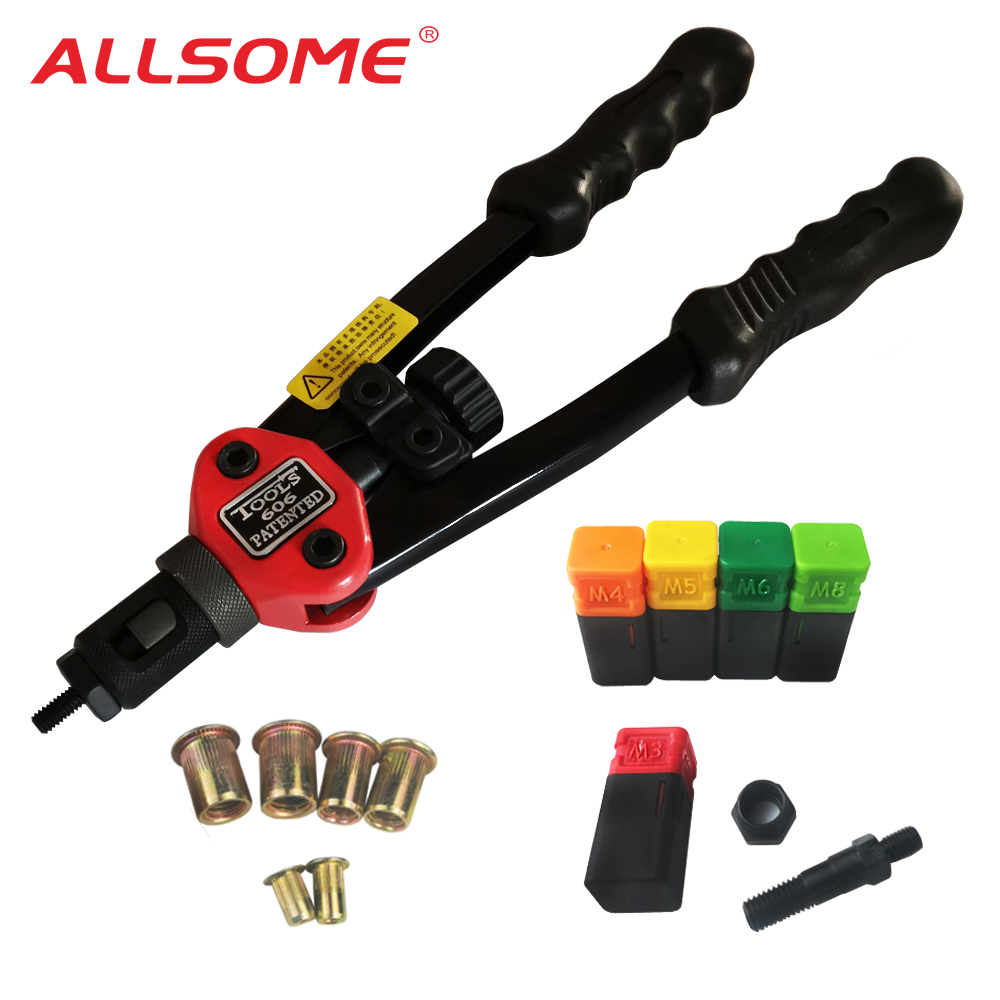 ALLSOME BT-606 RIVET NUT TOOL Hand Blind Riveter Hand Riveter Rivet Gun with 5 Metric Mandrels 50pcs Rivnuts