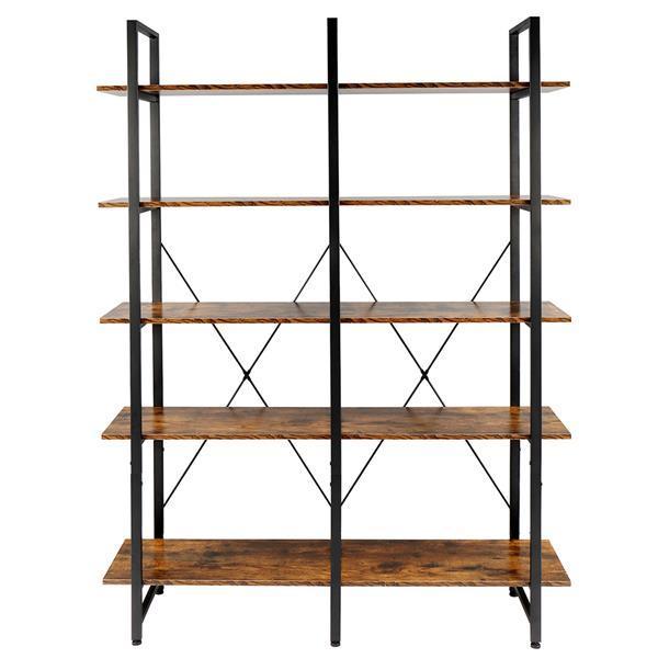 Double Wide Industrial 5-Tier Open Bookcase Shelves 2