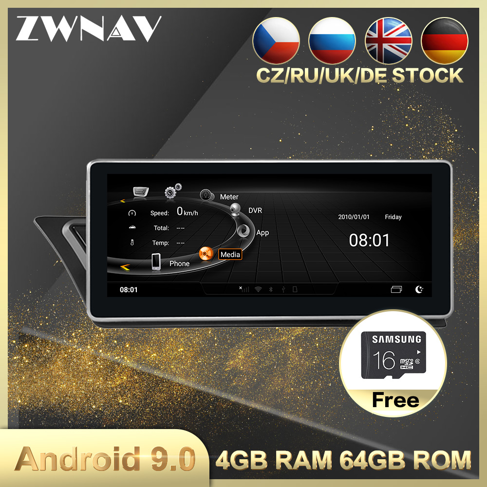 4+64 Android 9.0 Car Multimedia Player GPS Navigation For AUDI A4 A5 Q5 2009-2015 Car Auto Radio Video Stereo Head Unit Free Map