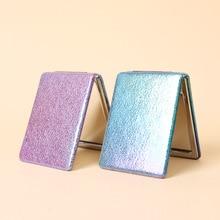 Bao жемчужный блеск градиент двухсторонний полиуретановое зеркало для макияжа Портативный ручная кладь, настраиваемые, с логотипом складной небольшой дерматоскопа