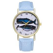 цена на Women's Watch Quartz Watch Blue Whale Litchi Pattern Leather Strap Round Dial Quartz Watches Exquisite Workmanship Casual