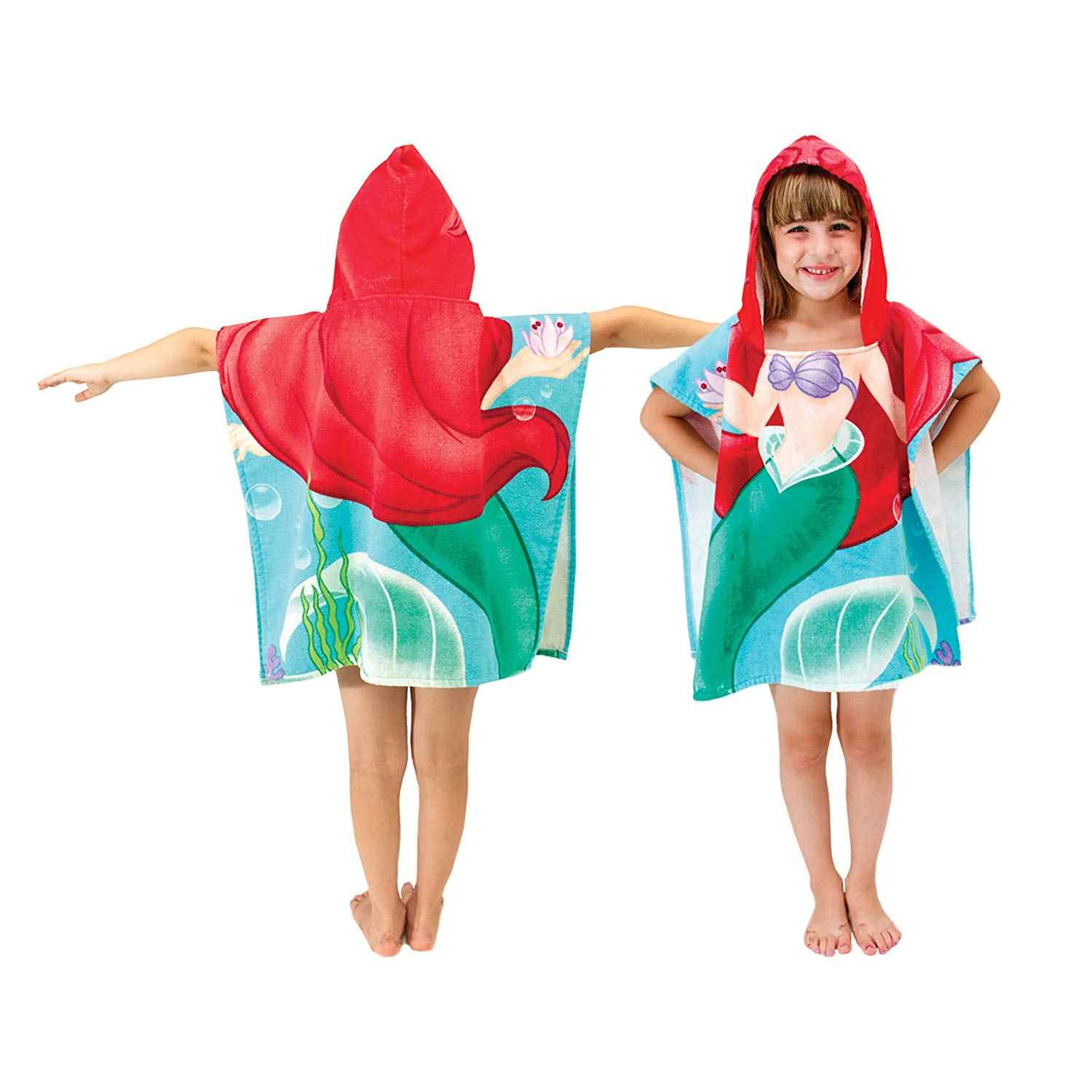 New Children Mermaid Cute Cartoon Hooded Cloak Beach Towel Animal Printed Microfiber Baby Boys Girls Kids Swimming Bath Towel