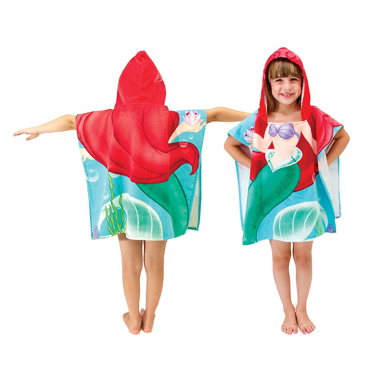 New Children Mermaid Cute Cartoon Hooded Cloak Beach Towel Animal Printed Microfiber Baby Boys Girls Kids Swimming Bath Towel
