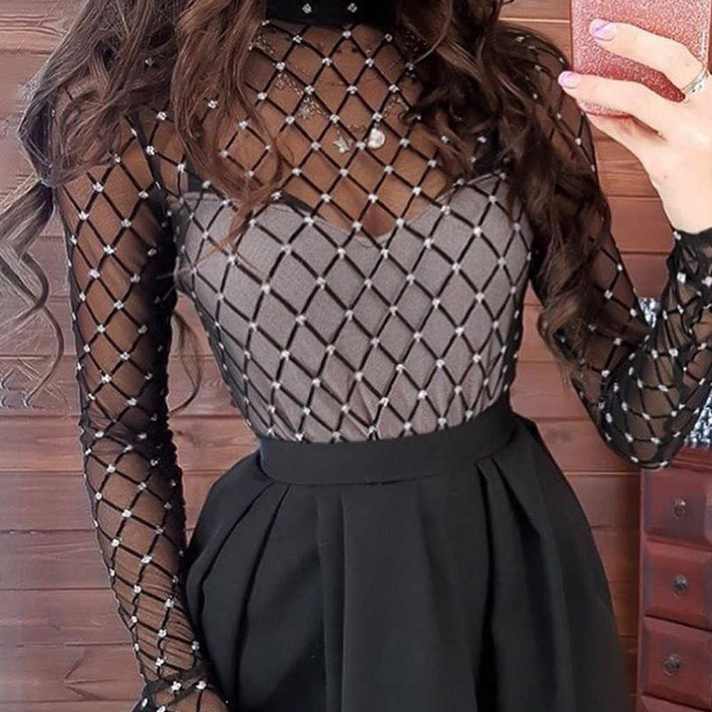 Women's Long Sleeve Screen Stitching Gauze Cocktail Prom Gown Bride Dress Pullover Black S-XL vestito