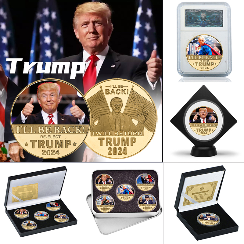 WR 2024 Donald Trump Gold Plated Commemorative Coin Collectibles USA President Original Coin Set Gifts for Man Dropshipping