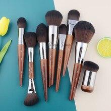 Conjunto de pincéis de maquiagem de madeira natural, kit de maquiagem profissional para pó, esculpir, sombra, destacador, exquis