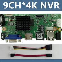 9CH * 4K ONVIF H.265/H.264 obsługa 1 SATA NVR sieciowy cyfrowy rejestrator wideo maks. 8TB XMEYE CMS z kablem P2P chmura mobilna