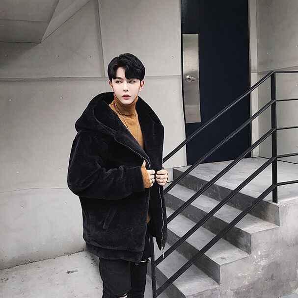 Furry 2019 Vetement Inverno Mens Giacca di Pelle Con Cappuccio di Pelliccia di Lusso Del Coniglio Del Rex Cappotto di Pelliccia di Grandi Dimensioni Mens Cappotto di Pelliccia Del Faux XL756