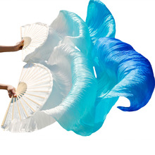 2021 Women Belly Dance Fan Veil Hand Made White Navy Blue Gradient Silk Veil Pairs 180x90cm Girls Women Stage Show Props