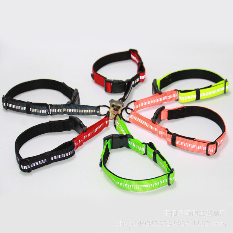 Explosion-Proof Pet Collar Dog With Reflective Yarn Nylon Collar Portable Traction Bandana Neck Ring