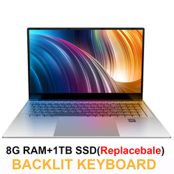 Ноутбук 15,6 дюймов 8 ГБ ОЗУ 1 ТБ HDD Intel Celeron J3455 1080P IPS экран Windows 10 PRO полноразмерная клавиатура цифровая клавиатура