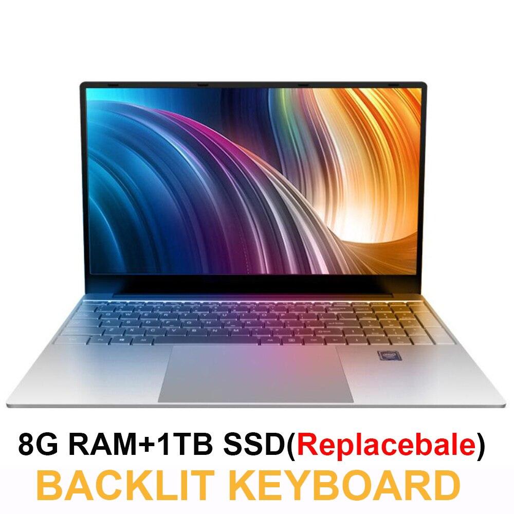 Notebook 15.6 polegada 8GB RAM 1 J3455 TB HDD Intel Celeron 1080P IPS Tela Do Windows 10 PRO Completo layout de Teclado teclado Numérico