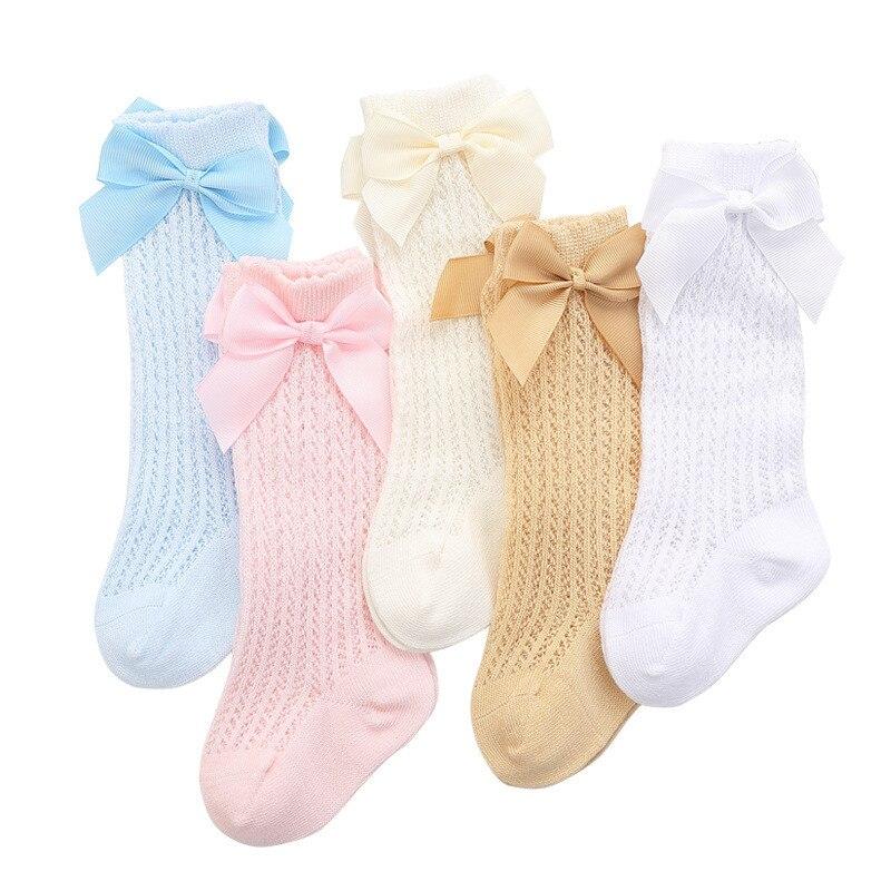 lawadka Baby Girl Socks Toddler Baby Bow Cotton Summer Mesh Baby Knee Socks Newborn Infant Non-slip Long Baby Boys Socks 0-2T 6